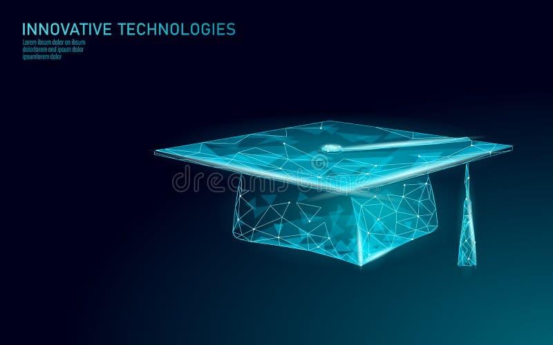 E-lära för certifikatprogram för avstånd doktorand- begrepp Låg poly 3D att framföra avläggande av examenlocket Utbildande framgå stock illustrationer