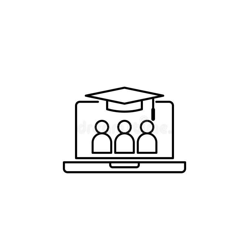 E-lära linjen symbol Online-internetutbildningssymbol avläggande av examenlock på bärbar datorskärmen digitalt doktorand- affärst vektor illustrationer