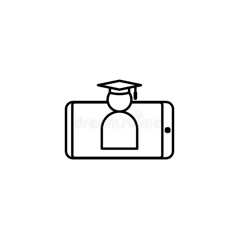 E-lära linjen symbol Online-internetutbildningssymbol avläggande av examenlock på smartphoneskärmen doktorand- affärstecken Logo  vektor illustrationer