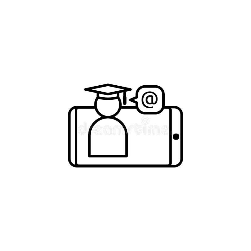 E-lära linjen symbol Online-internetutbildningssymbol avläggande av examenlock på smartphoneskärmen doktorand- affärstecken Logo  royaltyfri illustrationer