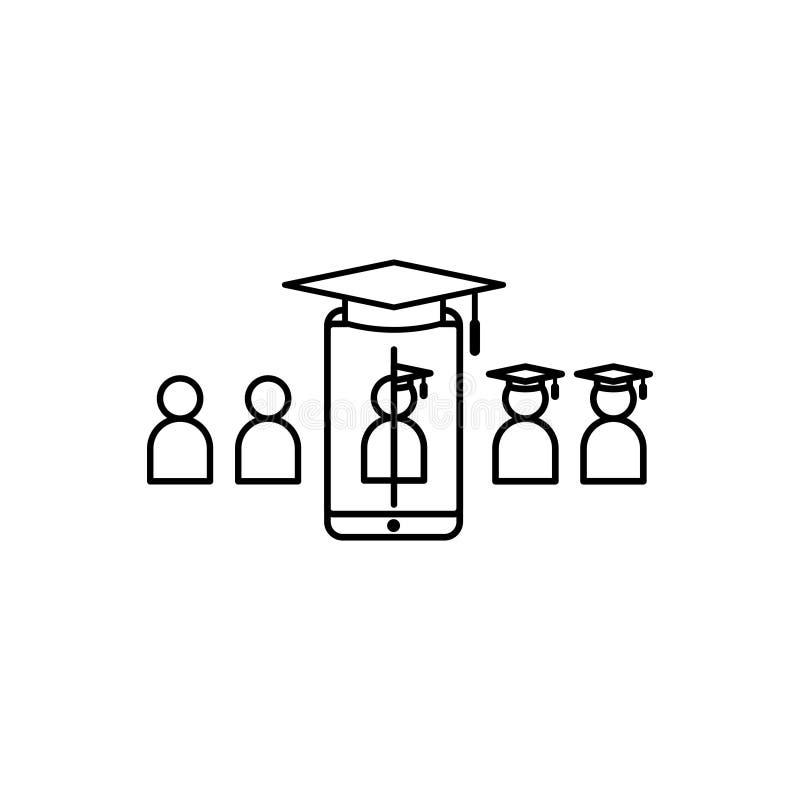 E-lära linjen symbol Online-internetutbildningssymbol avläggande av examenprocess på smartphoneskärmen doktorand- affärstecken Lo stock illustrationer