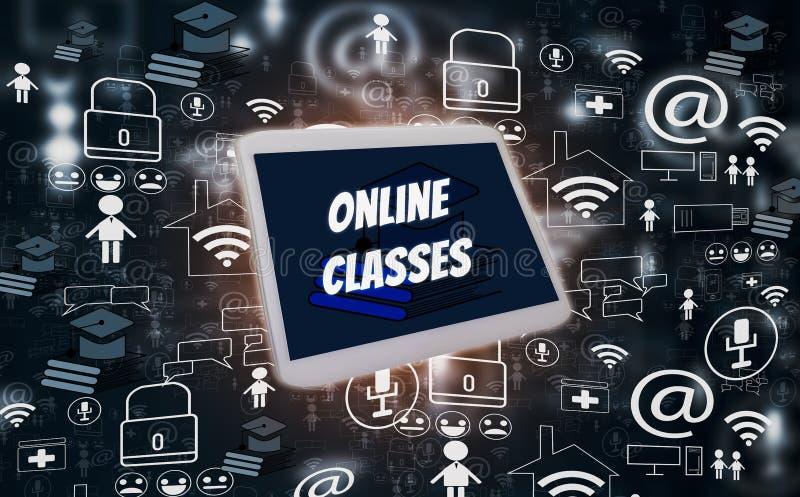 E-lära och online-utbildning, med socialt massmedia för minnestavla och för symboler på svart bakgrund, idérik design för illustr vektor illustrationer