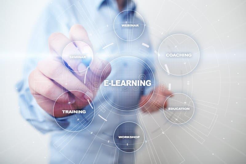 E-lära online-utbildning som utbildar begrepp för teknologi för internet för Webinar personligt utvecklingsaffär arkivfoton