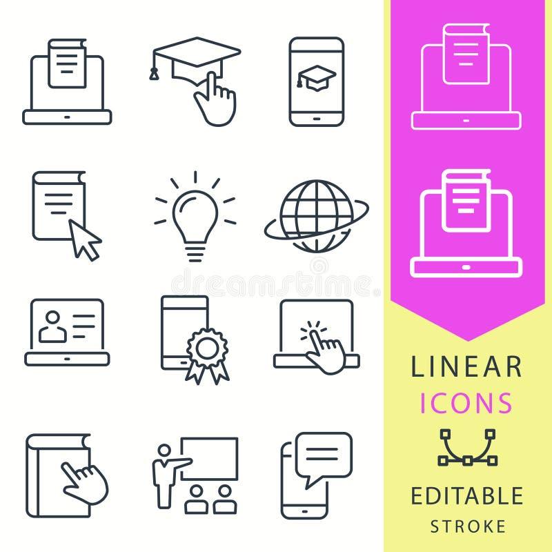 E-lära symboler för avståndsutbildning Uppsättningen av avläggande av examenlocket, utbildning, bärbar dator, lär online-- webina vektor illustrationer