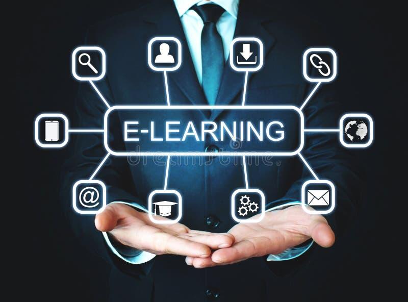 E-lära tangentbordet för begreppsutbildningsinternet lärer ord fotografering för bildbyråer