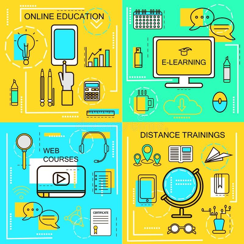 E-lärande online-Ecucation, rengöringsdukkurs- och avståndsutbildningsbegrepp Gör linjen symboler tunnare också vektor för coreld vektor illustrationer