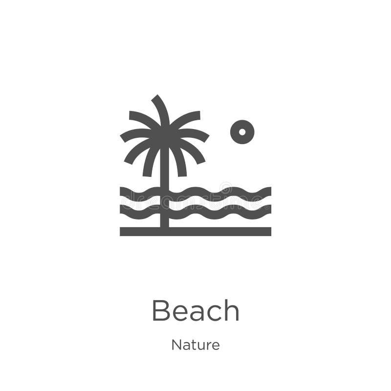 E Línea fina ejemplo del vector del icono del esquema de la playa r stock de ilustración
