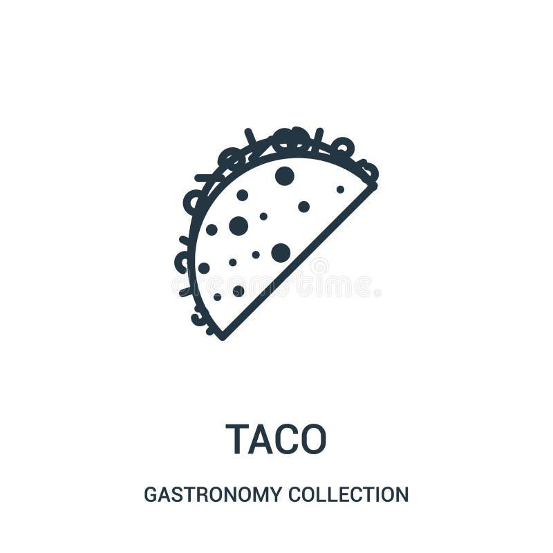 E L?nea fina ejemplo del vector del icono del esquema del taco libre illustration