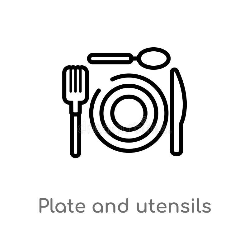 E l?nea simple negra aislada ejemplo del elemento del concepto de la comida Movimiento Editable del vector ilustración del vector