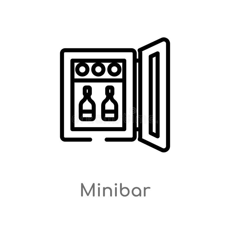 E l?nea simple negra aislada ejemplo del elemento del concepto del hotel y del restaurante Vector Editable ilustración del vector