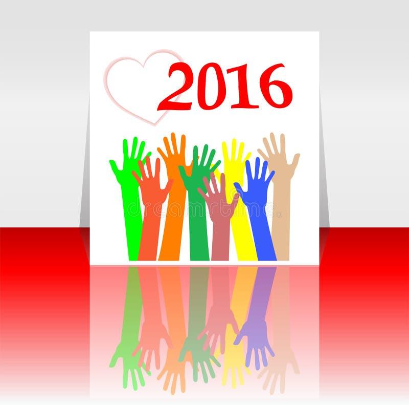2016 e la gente passano il simbolo stabilito L'iscrizione 2016 nello stile orientale su fondo royalty illustrazione gratis