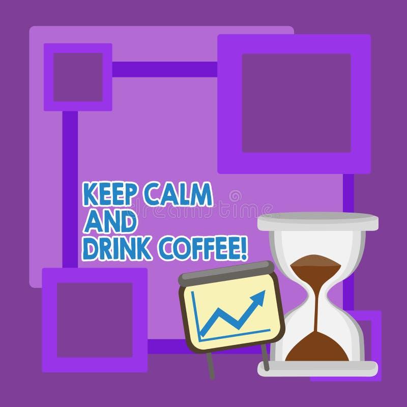 E La signification de concept encouragent la d?monstration pour appr?cier la boisson de caf?ine et ? d?tendre illustration stock
