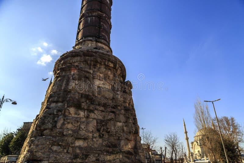 E 03 2019 : la vieille colonne de Constantine, Cemberlitas image stock