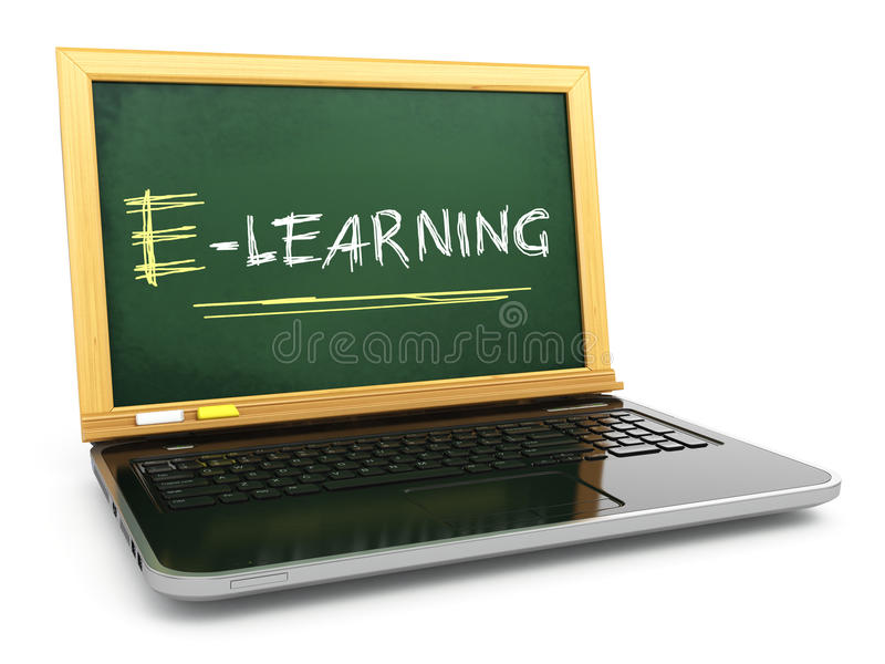 E-laerning教育概念 有黑板和白垩的膝上型计算机 向量例证