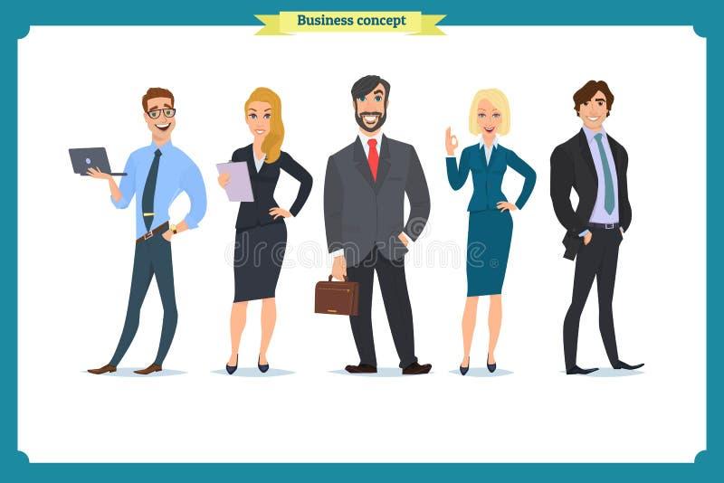 E lag för megafon för man för affärskaffelady En iklädd strikt dräkt för grupp människor vektor illustrationer