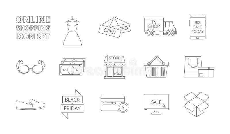 E-lager symboler Kläder för pengar för kort för rabatt för försäljningar för PC för smartphone för marknad rengöringsdukonline-sh stock illustrationer
