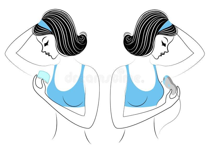 E Las señoras hacen la depilación de las axilas ellos mismos Quite el pelo con un gel, una cera y un epilatory libre illustration