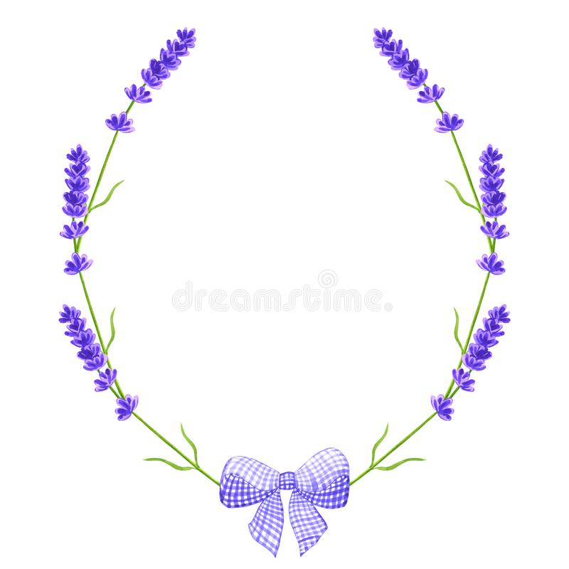 E Lavendelkranz r Aquarellhand gezeichnet stock abbildung