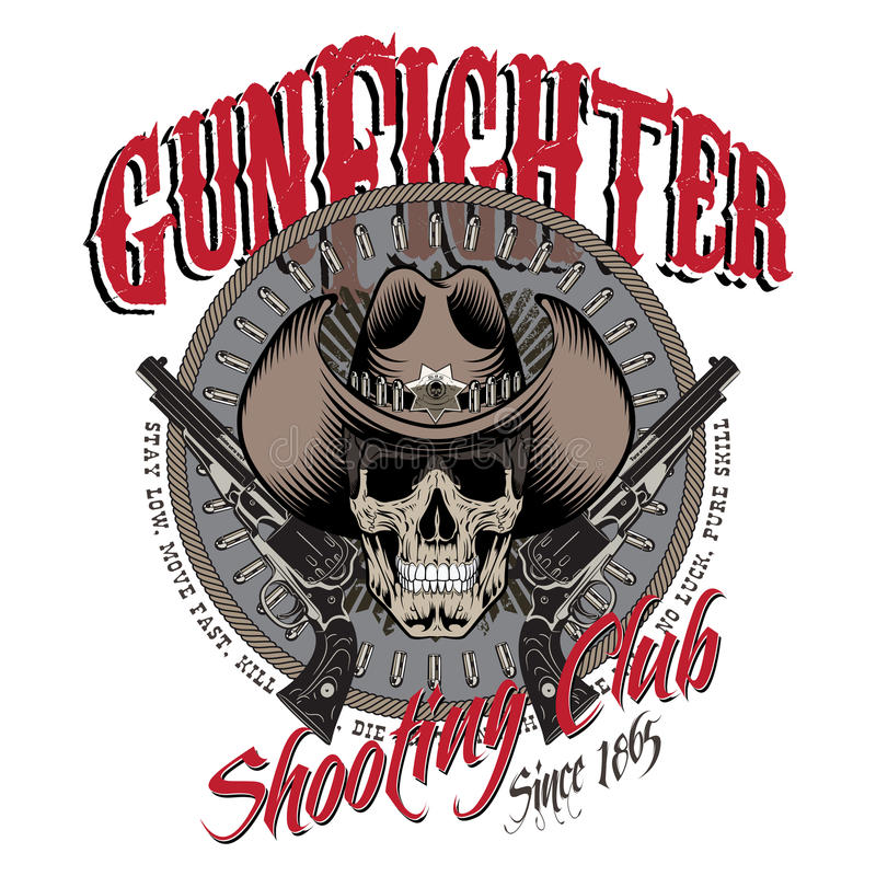 E Le crâne dans le chapeau de cowboy, deux a croisé l'arme à feu et les balles illustration de vecteur