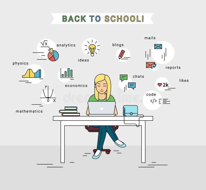 Free E-learning And Back To School Illustration Of Young Girl Using Laptop Stock Image - 76555891