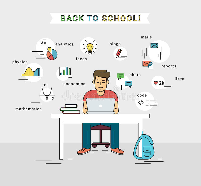 Free E-learning And Back To School Illustration Of Young Guy Using Laptop Royalty Free Stock Images - 76555709