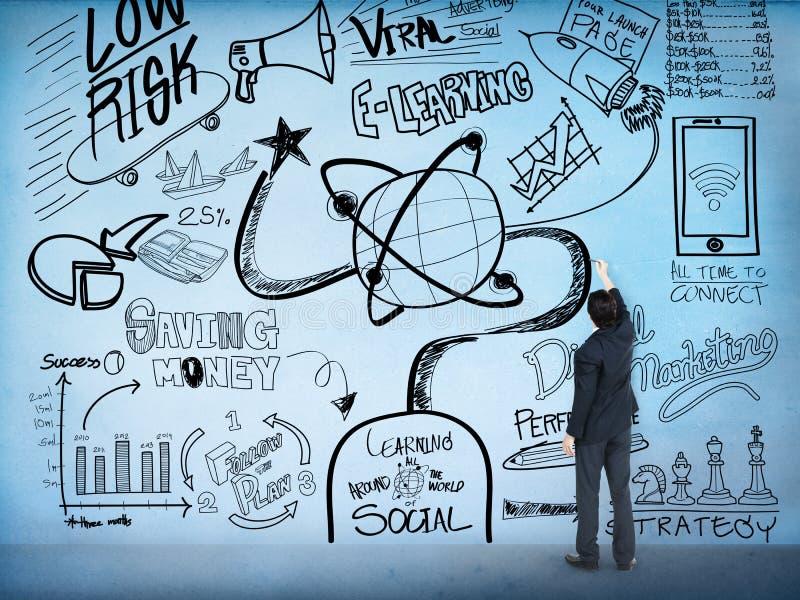 E-Learning-Bildungs-Skizzen-Zeichnungs-Gekritzel-Konzept lizenzfreie stockfotografie