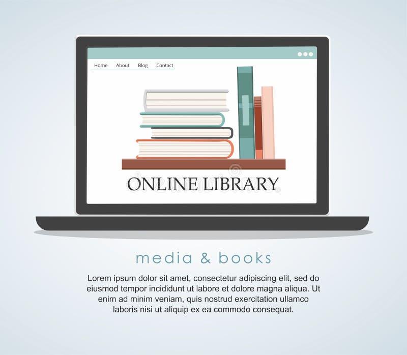 E-Learning-Bildungsinternet-Bibliothek oder -Buchladen flaches Konzept des Entwurfes stock abbildung