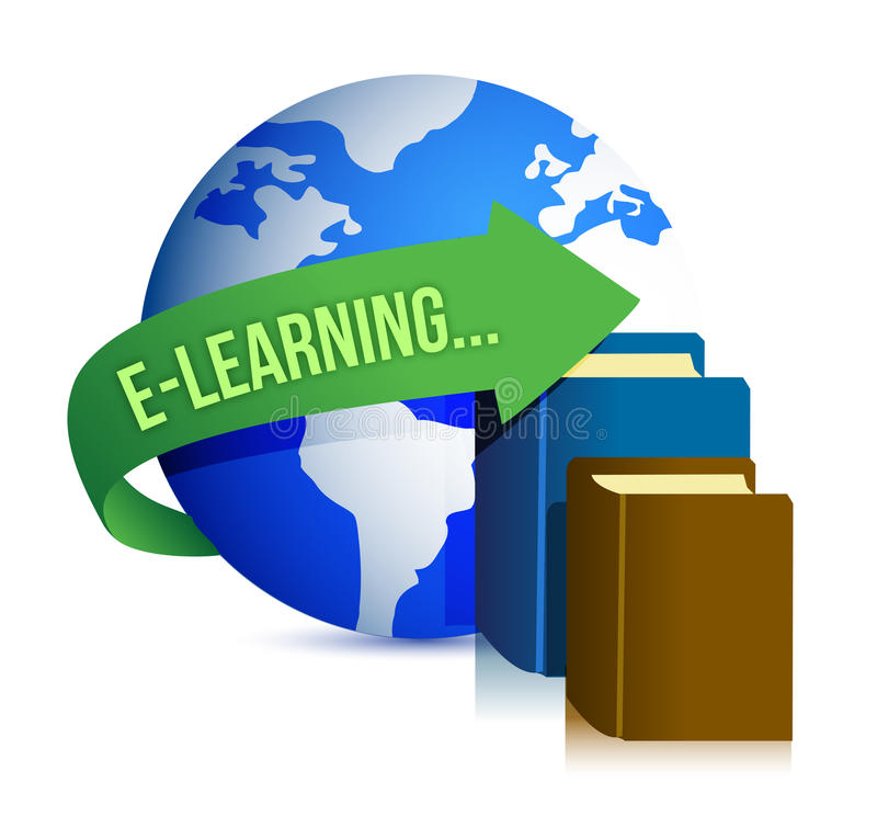 E learning books and globe royalty free illustration