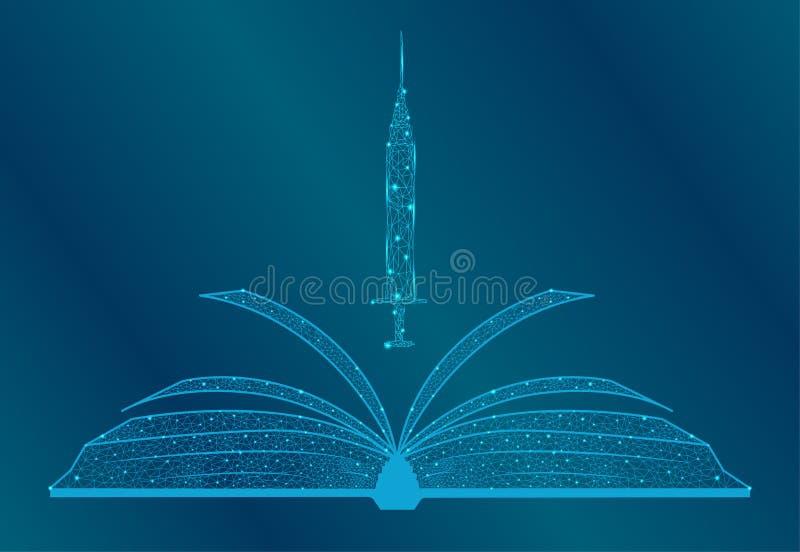 E-Learning, certificado de licenciado en medicina a distancia, concepto del programa de estudios de biología Bajo polo 3D Vector  stock de ilustración