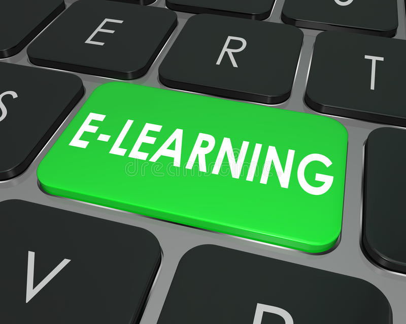 E-Learning-Computer-Tasten-on-line-Bildungs-Schule stock abbildung