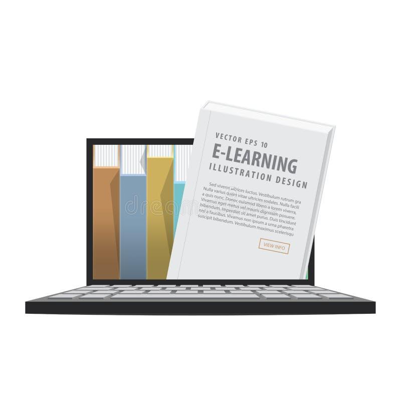 E-learning con il computer portatile, imparante attraverso una rete online illustrazione vettoriale