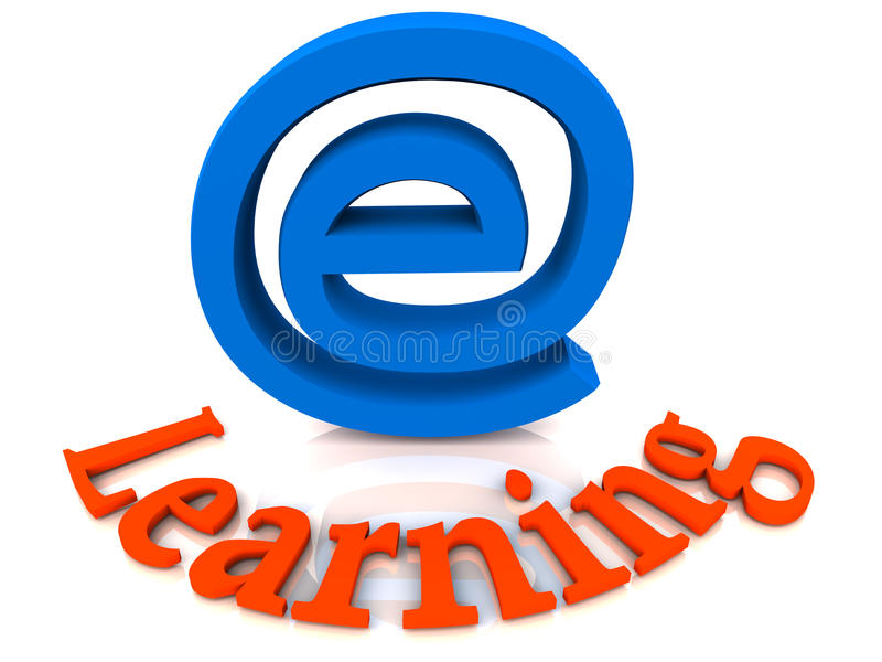 E learning concept. Electronic or e-learning concept, on white surface. computer and IT enabled education and remote teaching concept stock illustration