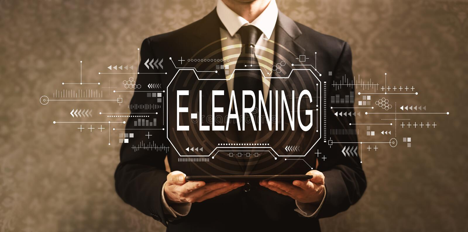 E-learning concept with businessman royalty free stock photos