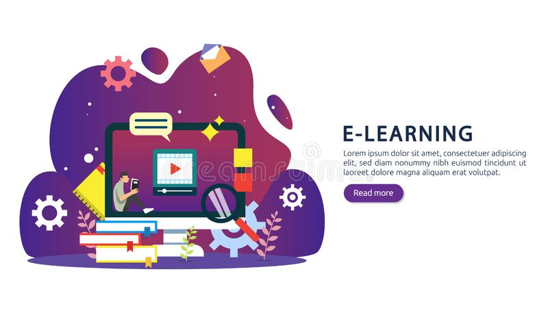 E-learning concept with computer, book and tiny people character in study process. E-book or online education. template for web stock illustration