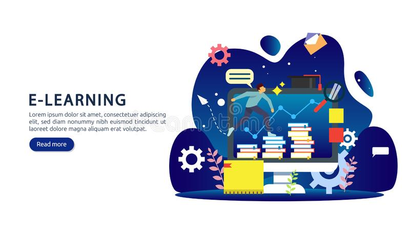 E-learning concept with computer, book and tiny people character in study process. E-book or online education. template for web vector illustration