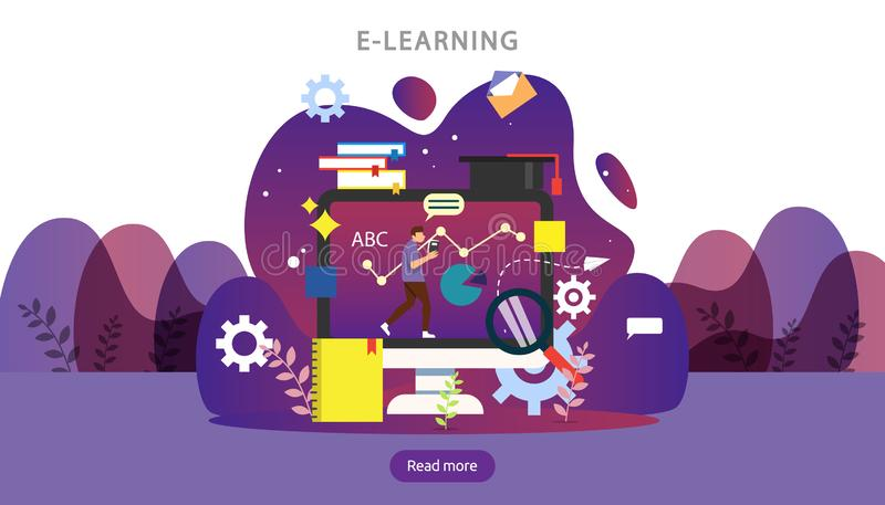 E-learning concept with computer, book and tiny people character in study process. E-book or online education. template for web royalty free illustration