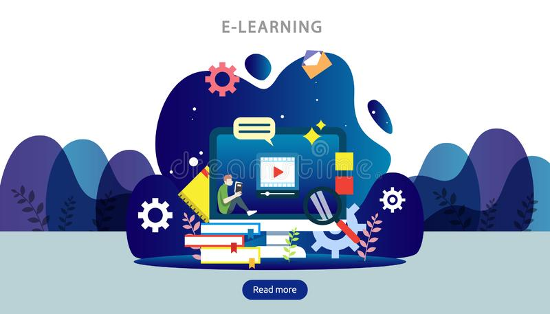 E-learning concept with computer, book and tiny people character in study process. E-book or online education. template for web. Landing page, banner vector illustration