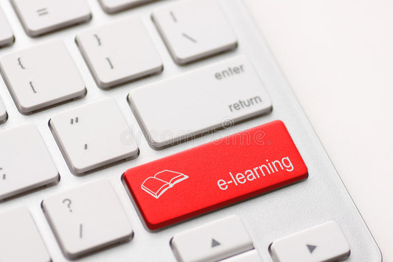E-Learning Concept. Computer Keyboard stock photography