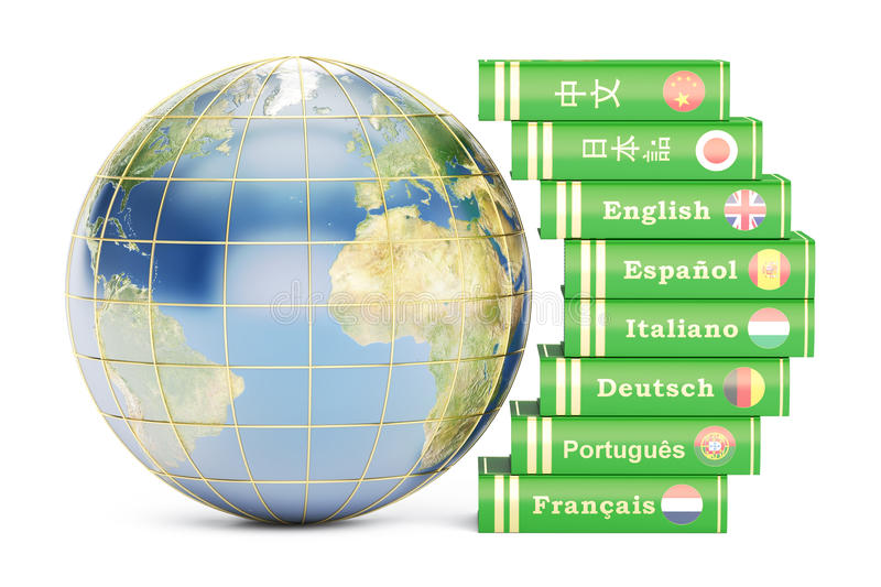 E-learning concept, dictionaries with Globe. 3D rendering vector illustration