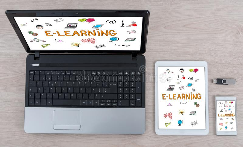 E-learning concept on different devices. E-learning concept shown on different information technology devices stock images