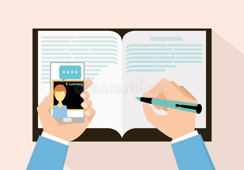 E-learning concept education with smartphone. For new style royalty free illustration