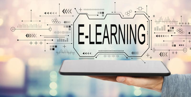E-learning concept with tablet computer stock images
