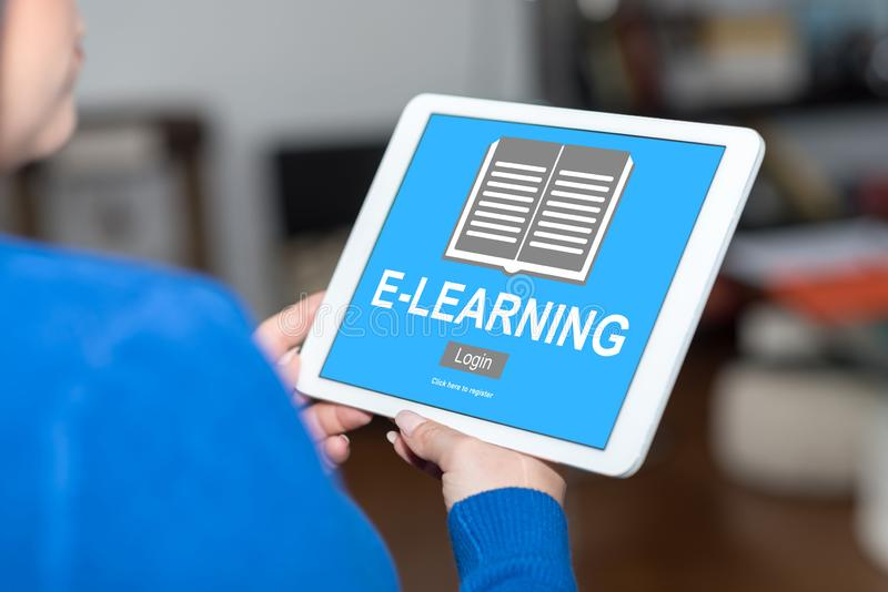 E-learning concept on a tablet. Tablet screen displaying an e-learning concept stock photography
