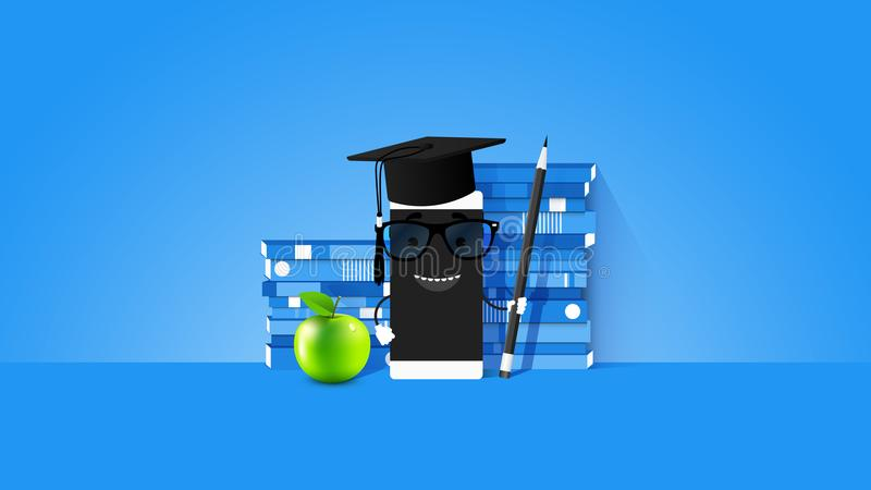 E-learning Conceptual Vector Illustration With Smartphone And Teacher On The Screen Stack Of Books On Light Blue vector illustration