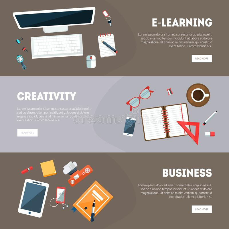 E-learning,Creativity, Business Banners Templates Set, Online Education, Creative Idea Research Banner, Landing Page stock illustration