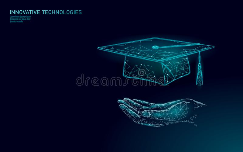 E-learning distance graduate certificate program concept. Low poly 3D render graduation cap on planet Earth World map royalty free illustration