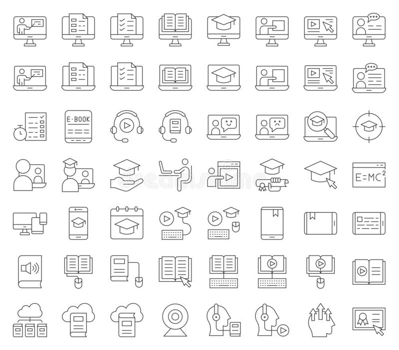 E learning and educated online icon set, outline editable stroke stock illustration