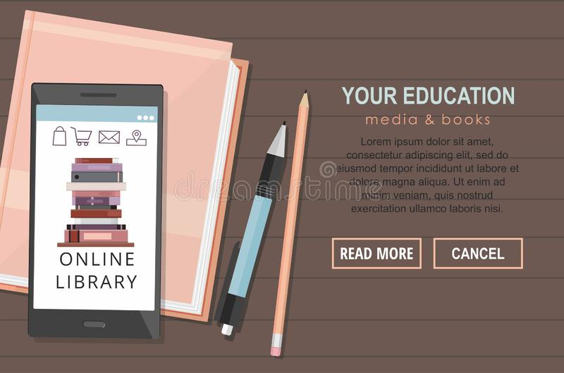 E-learning education internet library or book store. Back to school. Top view royalty free illustration