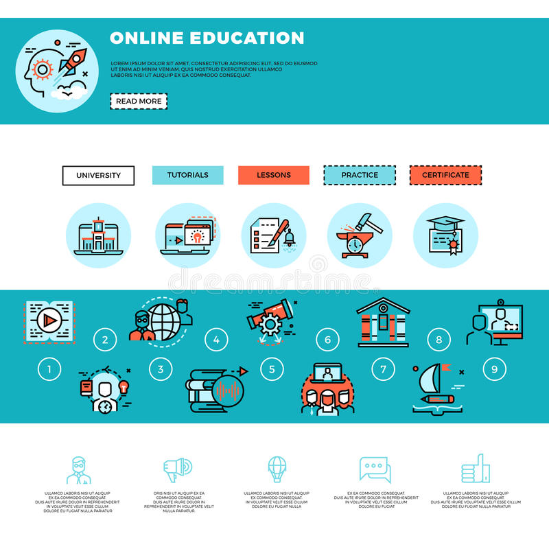 E-learning, education or training courses web design template stock illustration