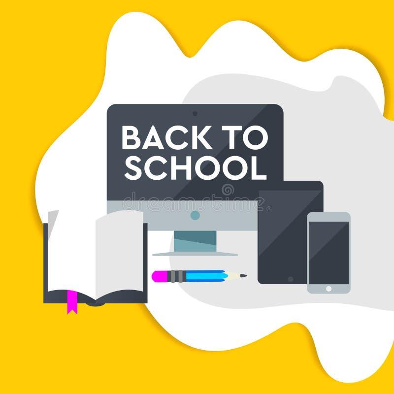 E-Learning-Entwurf, on-line-Ausbildungskonzept mit dem Lernen der Ikone Vektorillustration für Fahneneinladungsplakat und -websit stock abbildung
